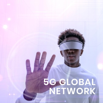 Szablon globalnej sieci 5g z mężczyzną noszącym inteligentne okulary w tle