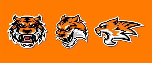Szablon głowy tygrysa dla logo e-sportu i gier