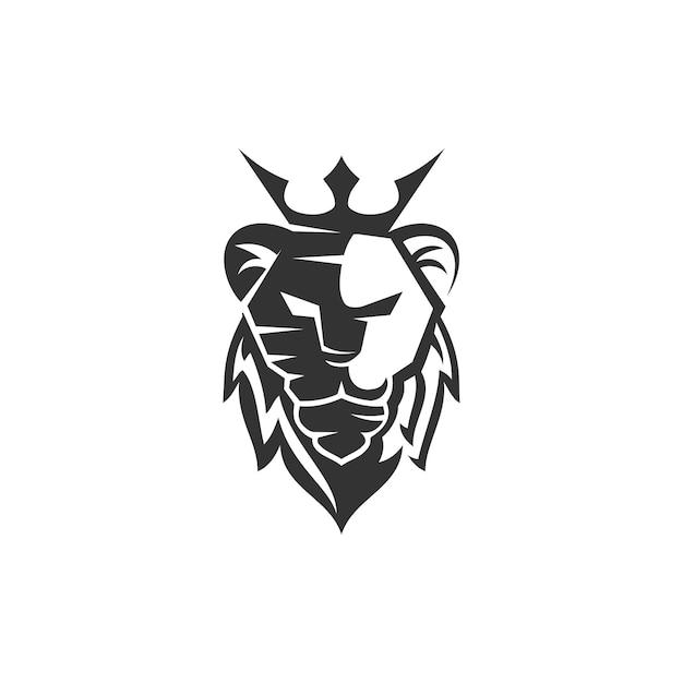 Szablon godło maskotka głowa lwa korona marka nowoczesna