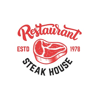 Szablon godło steak house. element na znak, odznakę, etykietę, plakat, kartę. wizerunek