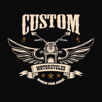 Szablon godło ze skrzydlatym silnikiem motocyklowym. element projektu plakatu, logo, etykiety, znaku, koszulki.