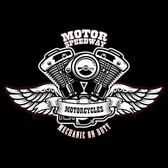 Szablon godło ze skrzydlatym silnikiem motocyklowym.