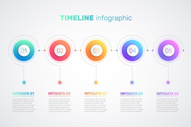 Szablon gradientu infographic osi czasu