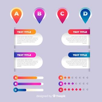 Szablon gradientu infographic z literami