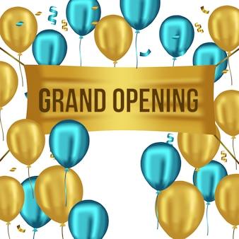 Szablon grand opening z niebieskimi i złotymi balonami