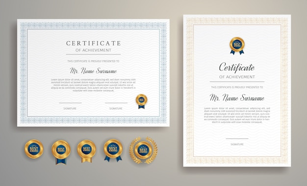 Szablon granicy certyfikatu z luksusowym kolorem i odznakami