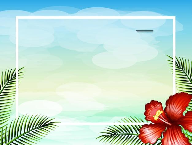 Szablon granicy z czerwonym kwiatem i liśćmi