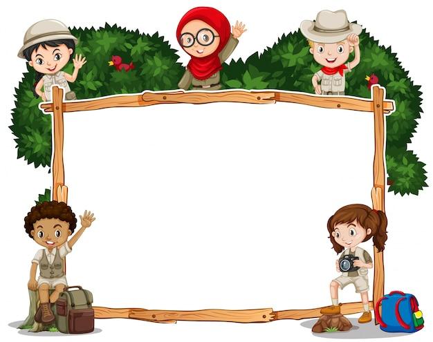 Szablon granicy z dziećmi w stroju safari