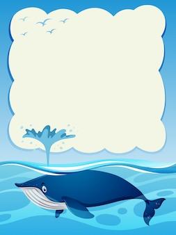 Szablon granicy z niebieskim wielorybem w oceanie