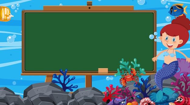 Szablon granicy z podwodną sceną w tle