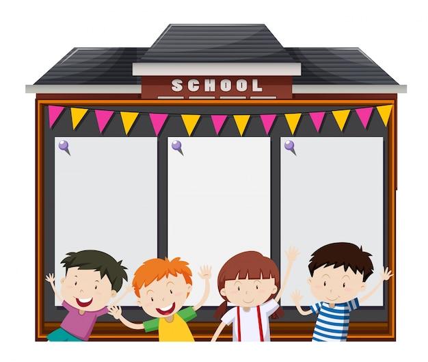 Szablon granicy z uczniami w szkole