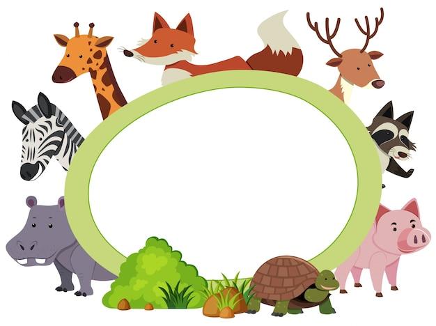 Szablon granicy z uroczymi zwierzętami