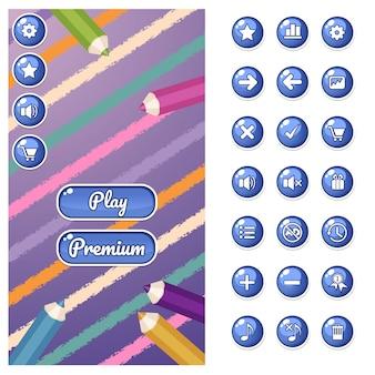 Szablon gry gui do aplikacji na telefon komórkowy.
