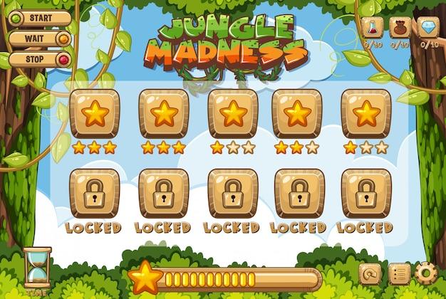 Szablon gry komputerowej z motywem dżungli