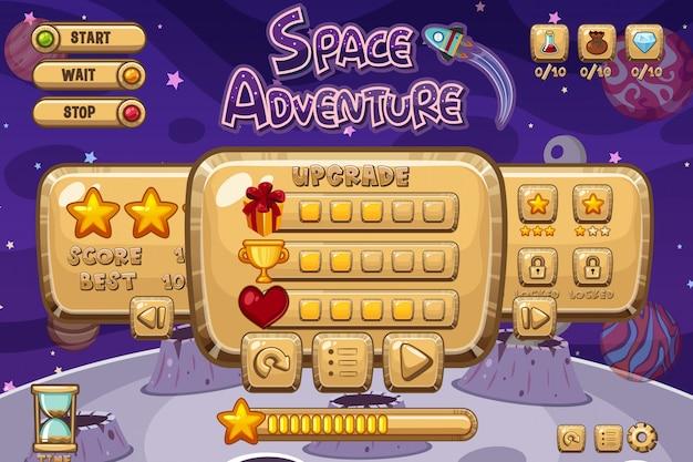 Szablon gry kosmicznej przygody z gwiazdą fioletowy
