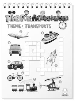 Szablon gry krzyżówki o transporcie