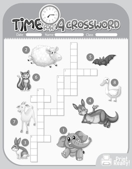 Szablon gry krzyżówki o zwierzętach