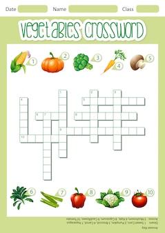 Szablon gry krzyżówki warzyw