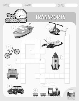Szablon gry krzyżówkowej o transporcie