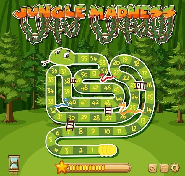 Szablon gry logicznej z zielonym wężem i wieloma drzewami