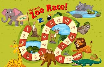 Szablon gry planszowej dzikich zwierząt