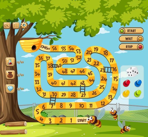 Szablon gry planszowej wężowej drabiny dla dzieci
