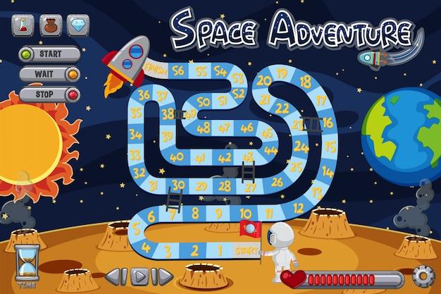 Szablon gry planszowej z astronautą na księżycu
