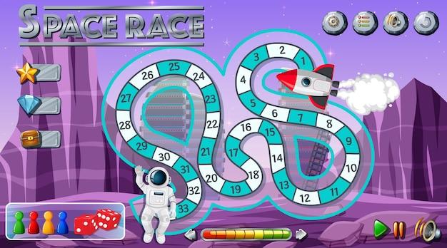 Szablon gry planszowej z motywem kosmicznym