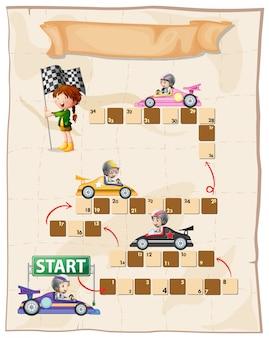 Szablon gry planszowej z samochodami wyścigowymi