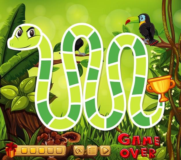 Szablon gry planszowej z wężem w dżungli