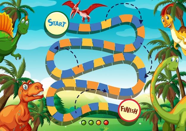 Szablon gry planszowej z wieloma dinozaurami