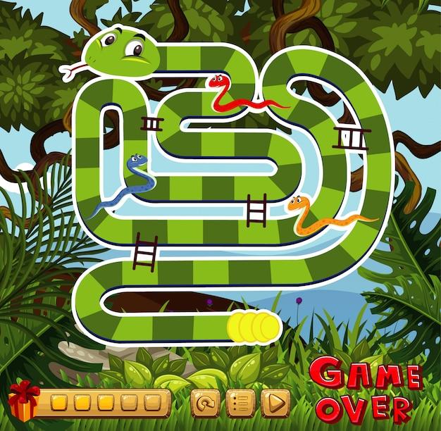 Szablon gry planszowej z zielonym tle lasu