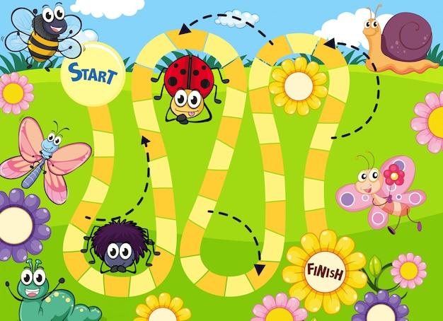 Szablon gry planszowej zabawy owadów