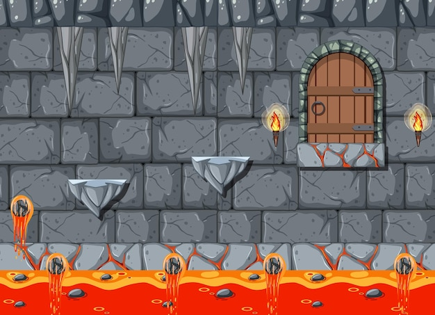 Szablon gry platformowej lava cave