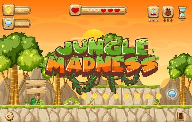 Szablon gry platformowej zbieranie jabłek