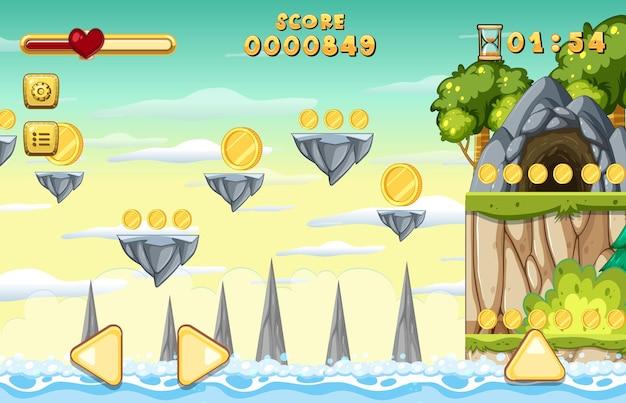 Szablon gry platformowej zbieranie monet