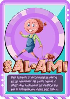 Szablon gry w karty postaci ze słowem salami