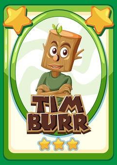 Szablon gry w karty postaci ze słowem timburr