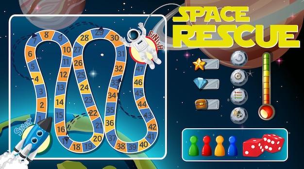 Szablon gry w węża i drabiny z motywem kosmicznym