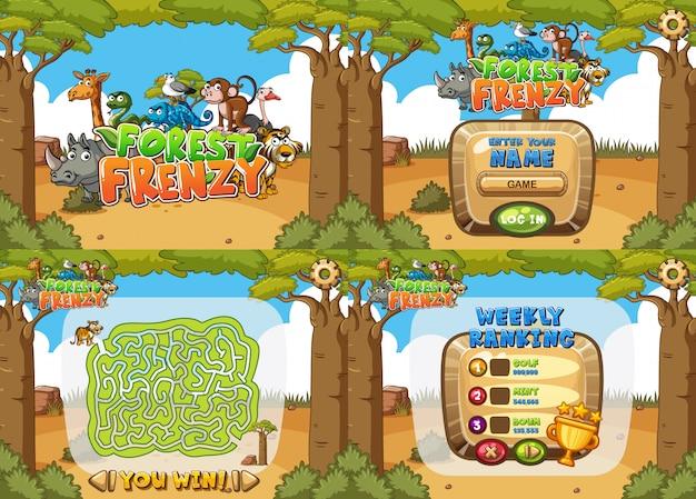 Szablon gry z czterema różnymi lasami