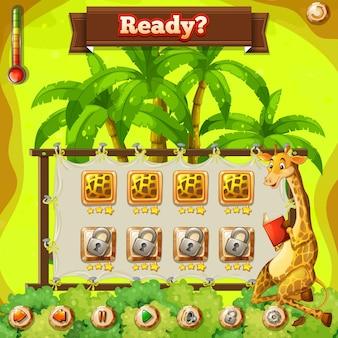 Szablon gry z żyrafą w dżungli