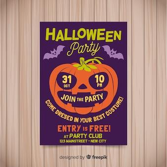 Szablon halloween kostium party plakat w płaska konstrukcja