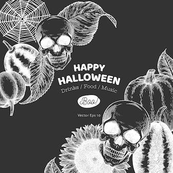 Szablon halloween ręcznie rysowane ilustracje na tablicy kredą.
