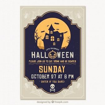 Szablon halloween strona broszury nawiedzony dom