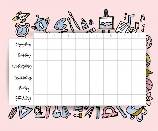 Szablon harmonogramu lekcji. plan lekcji dla uczniów lub tygodniowy plan zajęć z przyborami szkolnymi