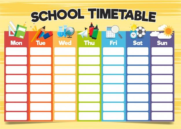 Szablon harmonogramu szkolnego, cotygodniowy program nauczania