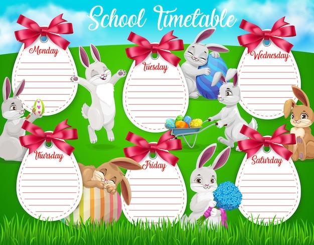 Szablon harmonogramu szkoły edukacji z kreskówki wielkanocne króliczki