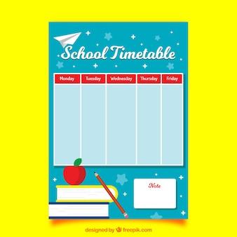 Szablon harmonogramu szkoły z płaskim deisgn