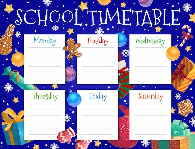 Szablon harmonogramu tygodnia szkoły dziecka z ozdoby choinkowe. harmonogram lekcji dla dzieci, planer ferii zimowych z pierniczkami, prezentami i płatkami śniegu, szklana bombka, kreskówka skarpety