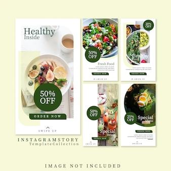 Szablon historie zdrowej żywności instagram darmowe